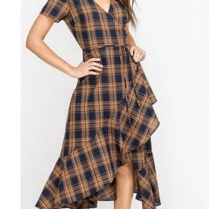 Plaid wrap dress